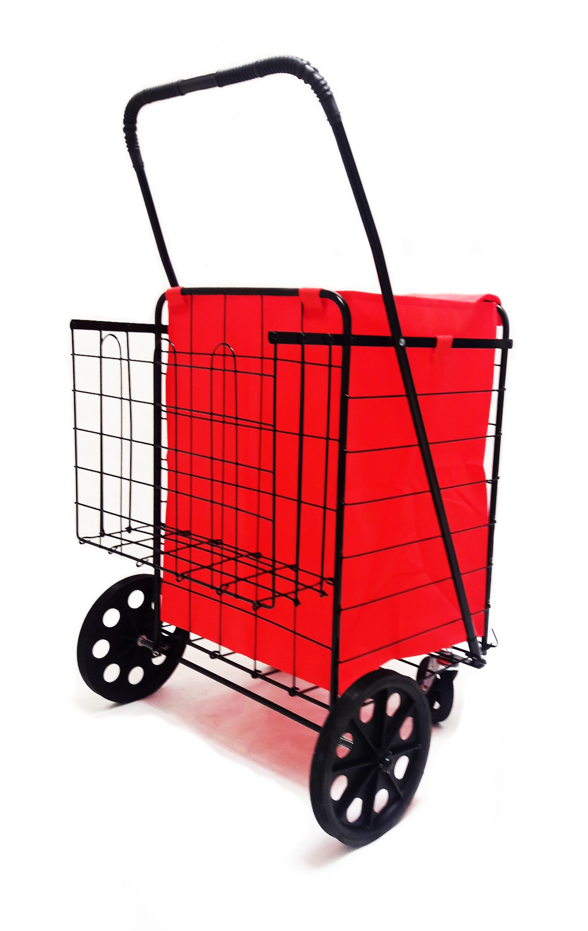 Dlux New Heavy Duty Double Basket Folding Shopping Cart